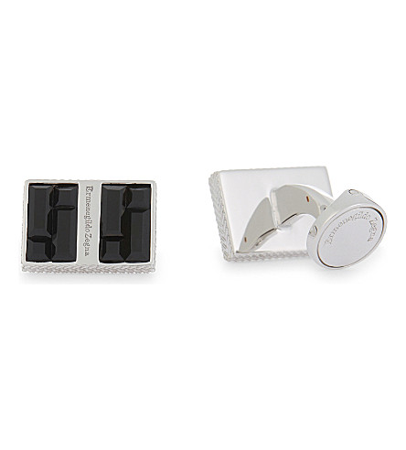ERMENEGILDO ZEGNA Rectangular crystal cufflinks (Black