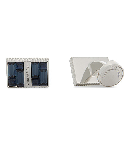 ERMENEGILDO ZEGNA Rectangular crystal cufflinks (Blue
