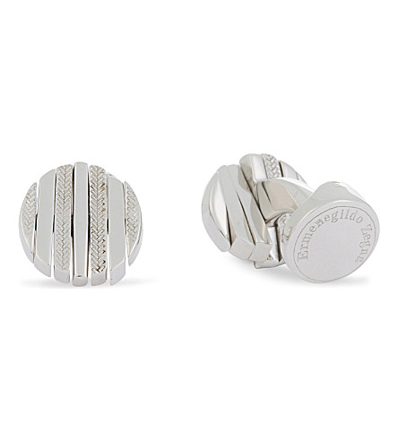 ERMENEGILDO ZEGNA Herringbone engraved swivel-faced round cufflinks (Silver