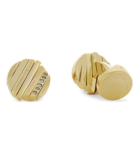 ERMENEGILDO ZEGNA Herringbone engraved swivel-faced round cufflinks (Gold