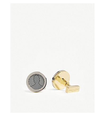泰勒 & 泰勒剪影漩涡圈袖扣 (银