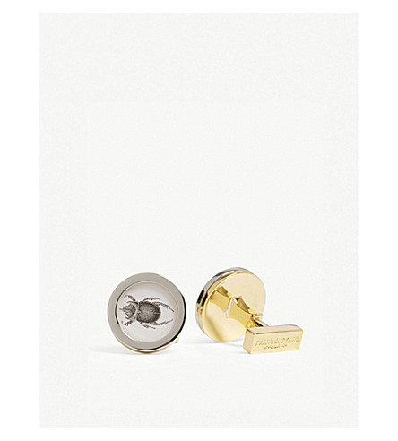 TYLER & TYLER Beetle circle cufflinks