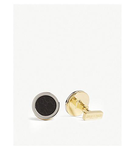 泰勒 & 泰勒破获镶嵌圆形袖扣 (深色 + 棕色