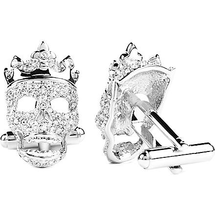 SIMON CARTER Crowned skull cufflinks (Crystal