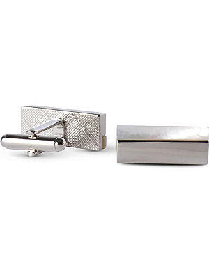 SIMON CARTER Mother–of–pearl stripe cufflinks