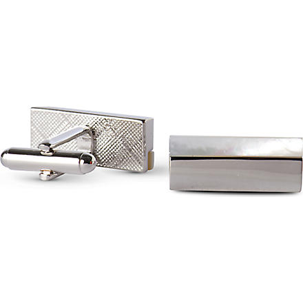 SIMON CARTER Mother–of–pearl stripe cufflinks (White