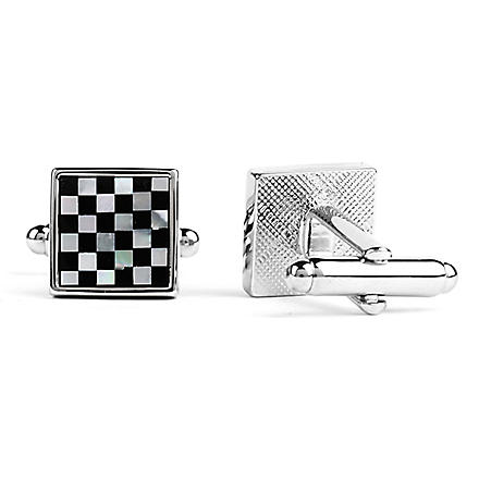 SIMON CARTER Chequered cufflinks (Onyx/mop