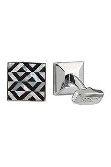 DUCHAMP Geometric onyx & mother of pearl cufflinks