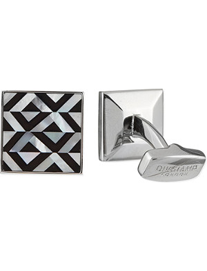DUCHAMP Geometric onyx & mother of pearl cufflinks