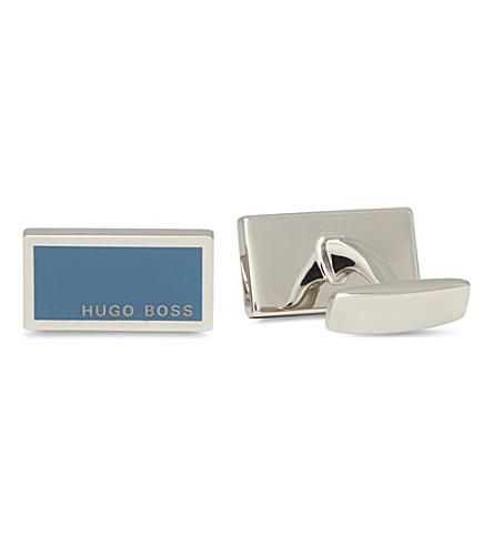 HUGO BOSS Rectangular Camilo enamel logo cufflinks (Aqua