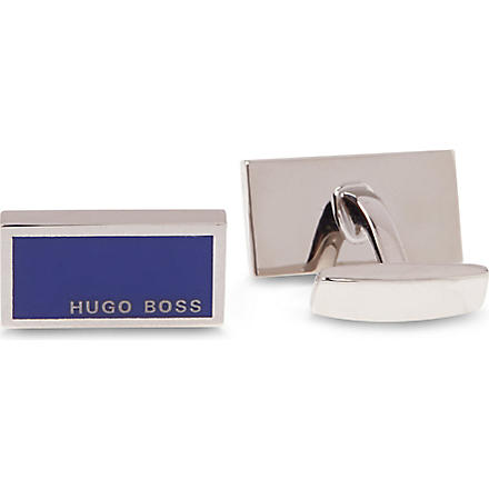 HUGO BOSS Rectangular Camilo enamel logo cufflinks (Royal