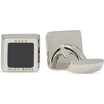 HUGO BOSS Square Franzisko enamel cufflinks (Black