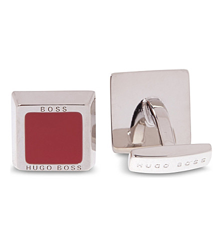 HUGO BOSS Square Franzisko enamel cufflinks (Red