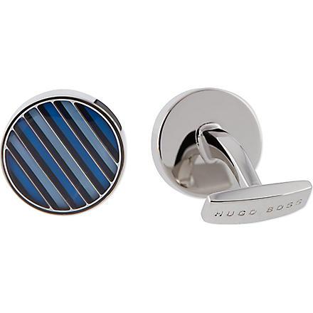 HUGO BOSS Striped enamel cufflinks (Navy