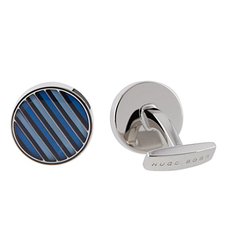 HUGO BOSS Striped enamel cufflinks (Navy