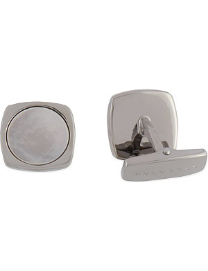 HUGO BOSS Square Mother of Pearl inset cufflinks