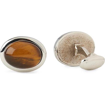 IAN FLAHERTY Tiger Eye oval cufflinks (Silver