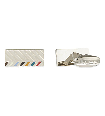 PAUL SMITH Chevron bar cufflink (Silver