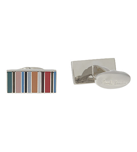PAUL SMITH Multi-stripe rectangle cufflinks (Multi