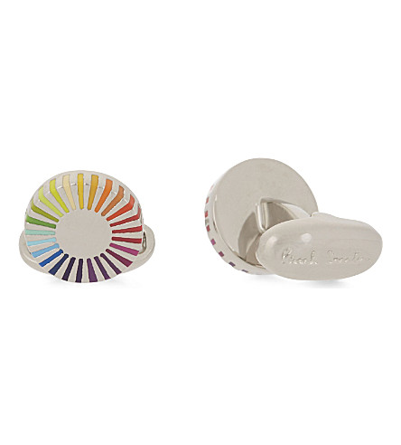 PAUL SMITH Multi-stripe round cufflinks (Brt+multi