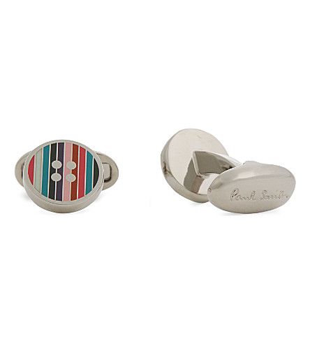 PAUL SMITH Striped button cufflinks (Silver