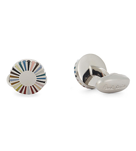 PAUL SMITH Rainbow-stripe edge round cufflinks (Multi