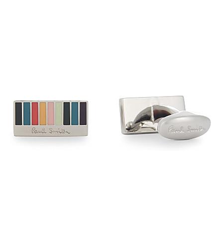 PAUL SMITH Rainbow stripes rectangle cufflinks (Multi