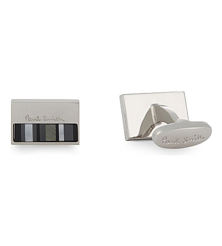 PAUL SMITH Mother of Pearl stripes rectangle cufflinks (Silver