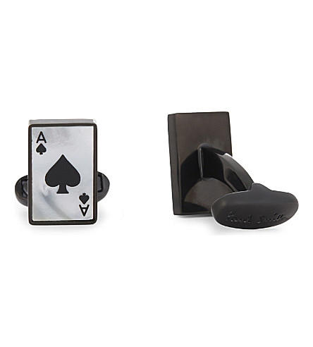 PAUL SMITH Mother of Pearl Ace of Spades cufflinks (Silver