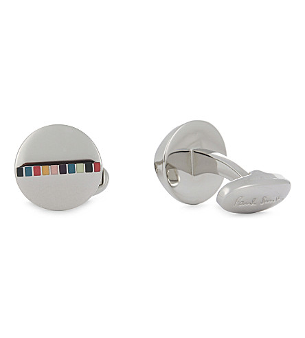 PAUL SMITH Rainbow stripe round cufflinks (Multi