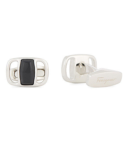 SALVATORE FERRAGAMO Vara stone-inlay cufflinks (Silver/black