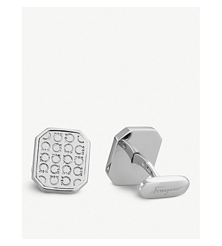 SALVATORE FERRAGAMO Octagonal Gancio sterling silver rhodium plated cufflinks (Silver