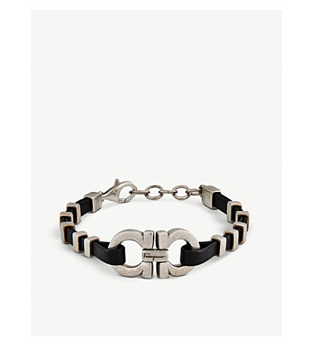 SALVATORE FERRAGAMO Heart sterling silver and leather bracelet (Onyx