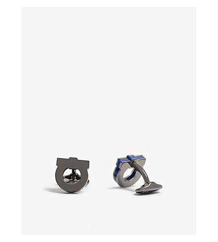 SALVATORE FERRAGAMO Gancio logo cufflinks (Blue