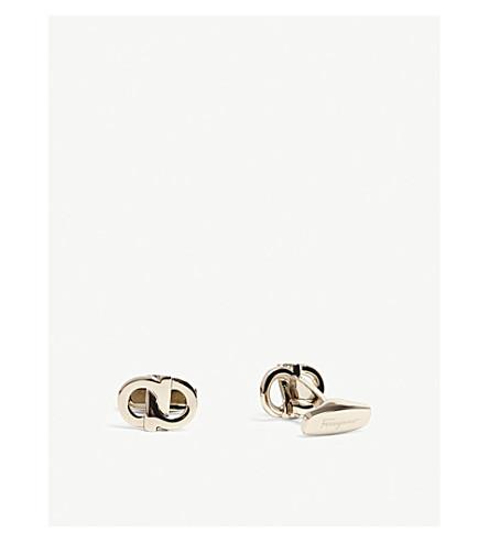 SALVATORE FERRAGAMO Intertwined double Gancio cufflinks (Gold