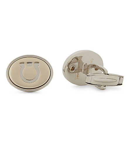 SALVATORE FERRAGAMO Stamped Gancho oval cufflinks (Gold