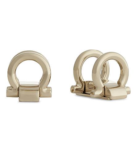 SALVATORE FERRAGAMO Movable Gancho cufflinks (Gold