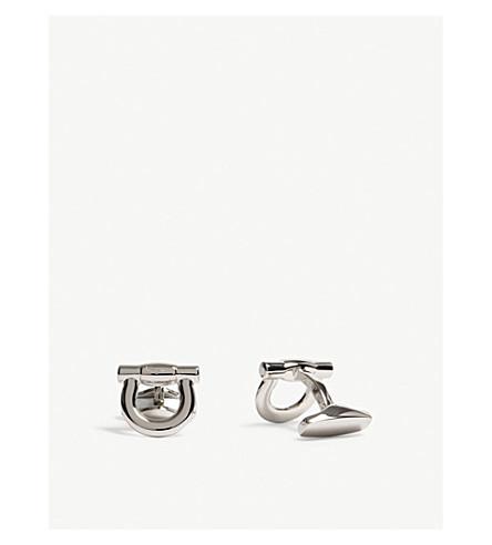 SALVATORE FERRAGAMO Large Gancio cufflinks (Silver