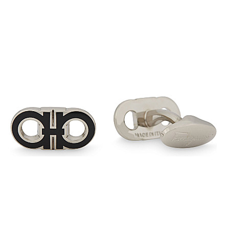 SALVATORE FERRAGAMO Double Gancini cufflinks (Black