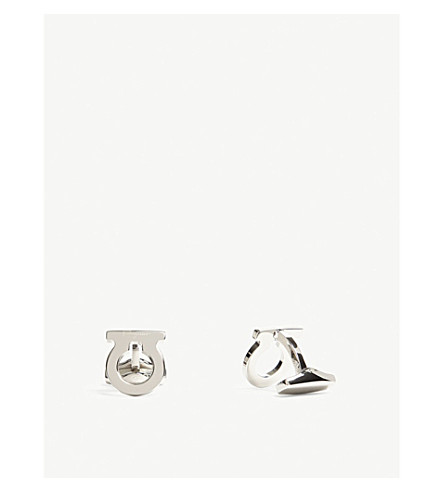 SALVATORE FERRAGAMO Curved Gancio cufflinks (Silver