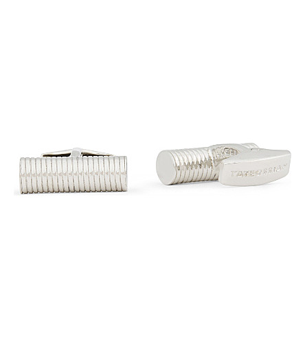 TATEOSSIAN Ribbed cylinder sterling silver cufflinks (Silver
