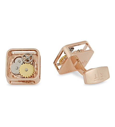 TATEOSSIAN Mechanical gear square cufflinks (Rose+gold