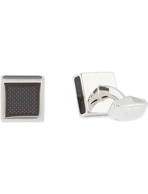 TATEOSSIAN Rhodium grey enamel square cufflinks