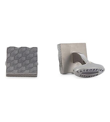 TATEOSSIAN Geometric square titanium cufflinks (Titanium