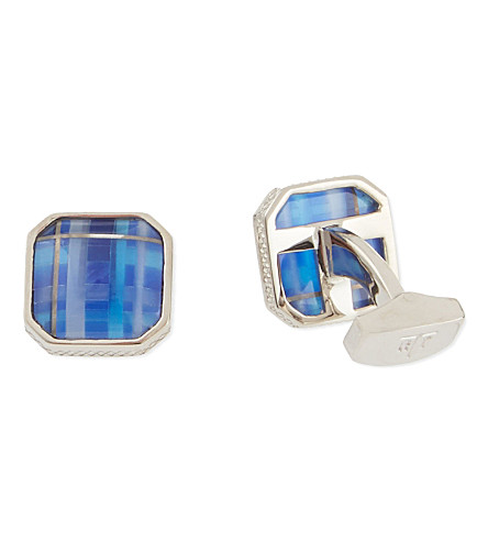 TATEOSSIAN Tartan fibre optic cufflinks (Blue