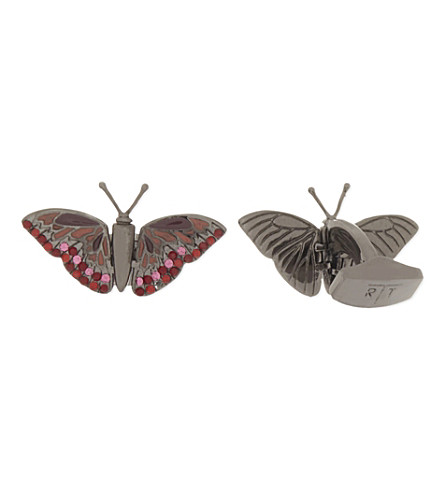 TATEOSSIAN Mechanical animals butterfly crystal cufflinks (Red+pink