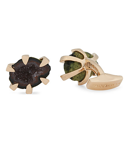TATEOSSIAN Geode rose-gold-plated sterling silver cufflinks (Rose+gold