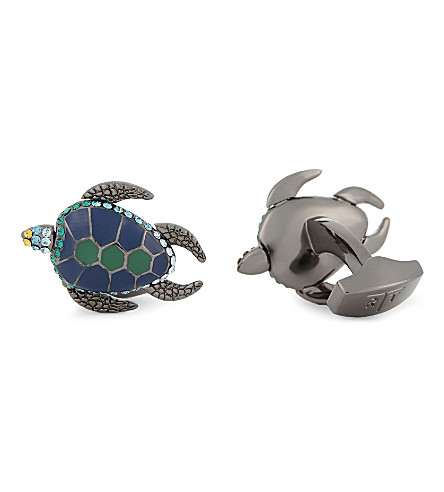 TATEOSSIAN Turtle cufflinks (Gunmetal+blue