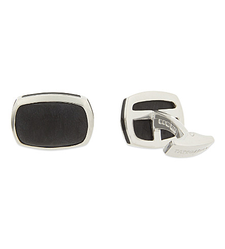 TATEOSSIAN Rectangular bamboo silver cufflinks (Black