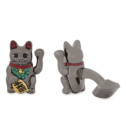 TATEOSSIAN Fortune cat cufflinks (Gunmetal